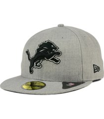 new era detroit lions heather black white 59fifty fitted cap