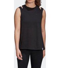 camiseta regata adidas brilliant basic preta feminina