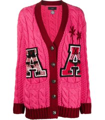 alanui cable-knit varsity cardigan - pink