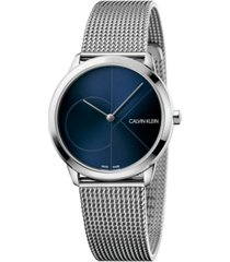 calvin klein women's minimal stainless steel mesh bracelet watch 35mm