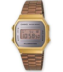 reloj casio vintage dama modelo a168wecm-9 oro rosa combinado original