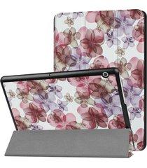 huawei mediapad t3 10 colorido patron de flores pintadas deformación horizontal plegable flip funda de cuero con tres titular