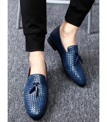 mocasines de ocio de moda de cuero de tejido de estilo coreano para hombres