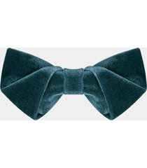 classic elegant greyish green velvet pre-tied adjustable bowtie wedding best man