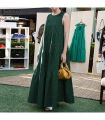 zanzea vestido sin mangas de verano sin mangas para mujer vestido con hombros descubiertos camisa larga vestido de verano -verde
