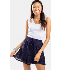 solice lace tie front mini skirt - blue