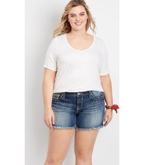 plus size vigoss® womens americana fray hem 5in shorts blue - maurices