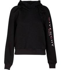 black logo sleeve hoodie