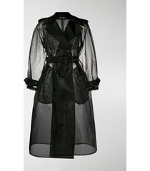 dolce & gabbana double-breasted organza trench coat