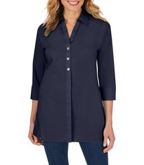 women's foxcroft pamela stretch button-up tunic, size 12 - blue