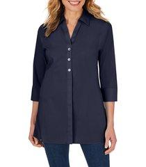 women's foxcroft pamela stretch button-up tunic, size 8 - blue