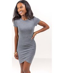 neela side ruched mini dress - heather gray