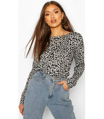 leopard knitted top, grey