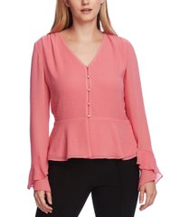 vince camuto women's flutter cuff button front blouse