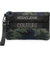 versace jeans couture camouflage print clutch - green