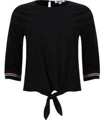 blusa unicolor con tiras tejidas color negro, talla 10