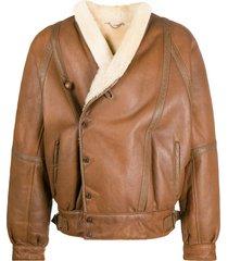a.n.g.e.l.o. vintage cult 1980s sheepskin bomber jacket - brown