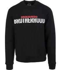 dsquared2 man black brotherhood cotton sweatshirt