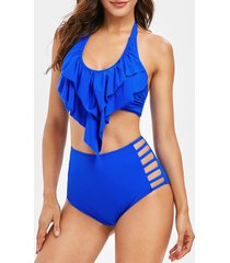cut out tiered overlay tankini swimsuit