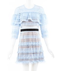 self portrait guipure lace tiered dress blue/black sz: s