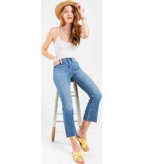 women's mallory light wash crop jeans in denim by francesca's - size: 30