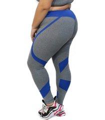 calça legging levanta bumbum - plus size - cinza e azul