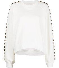 cynthia rowley saturday studded-sleeve sweatshirt - white