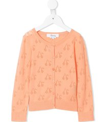 bonpoint perforated cherry cardigan - orange