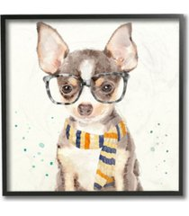 """stupell industries home decor collection hipster chihuahua puppy with glasses and scarf watercolor framed giclee art 12"""" l x 1.5"""" w x 12"""" h"""