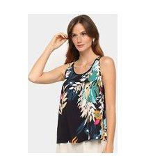 blusa regata mercatto flores feminina