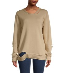 alala women's cypher distressed sweatshirt - taupe - size s