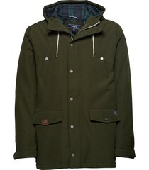 canvas hooded parka fodrad jacka grön izod