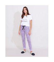 pijama feminino manga curta friends branco