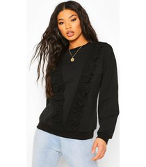 broderie trim sweater, black