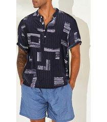 hombres cuello de botón de impresión geométrica casual transpirable playa holiday manga corta camisa