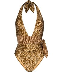 zimmermann empire belted leopard-print swimsuit - brown