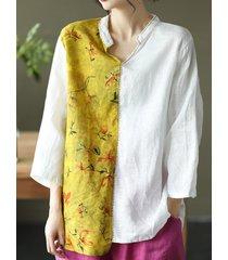 camicetta con colletto alla coreana a maniche lunghe in colore a contrasto floreale