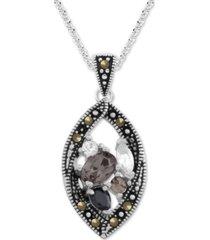 "genuine swarovski marcasite & crystal teardrop pendant 18"" necklace in fine silver-plate"