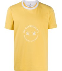 brunello cucinelli slogan-print ringer t-shirt - yellow