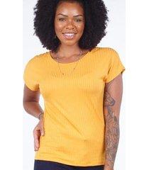 blusa básica canelada barra mullet feminina - feminino