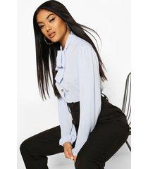 blouse met knopen, volle mouwen en strik, sky
