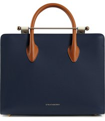 strathberry midi leather tote - blue