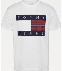 polera algodón orgánico logo cuadros blanco tommy jeans