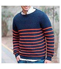 men's alpaca blend sweater, 'navy cuzco casual' (peru)