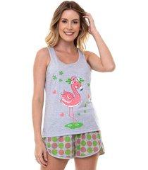 pijama short doll regata flamingo feminino luna cuore