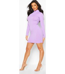 jumbo rib high neck mini dress, lilac grey