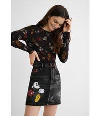 denim mini-skirt illustrations and tartan - blue - 44