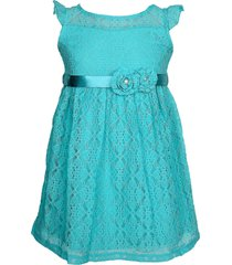 vestido color mini de renda com cinto de flor verde água