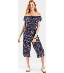 alyssa floral crop jumpsuit - navy