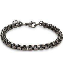 effy men's black rhodium-plated sterling silver box chain bracelet